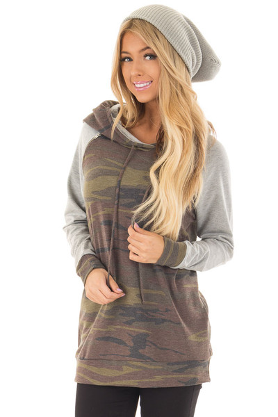 Camo and Heather Grey Hoodie with Zipper Detail front closeup