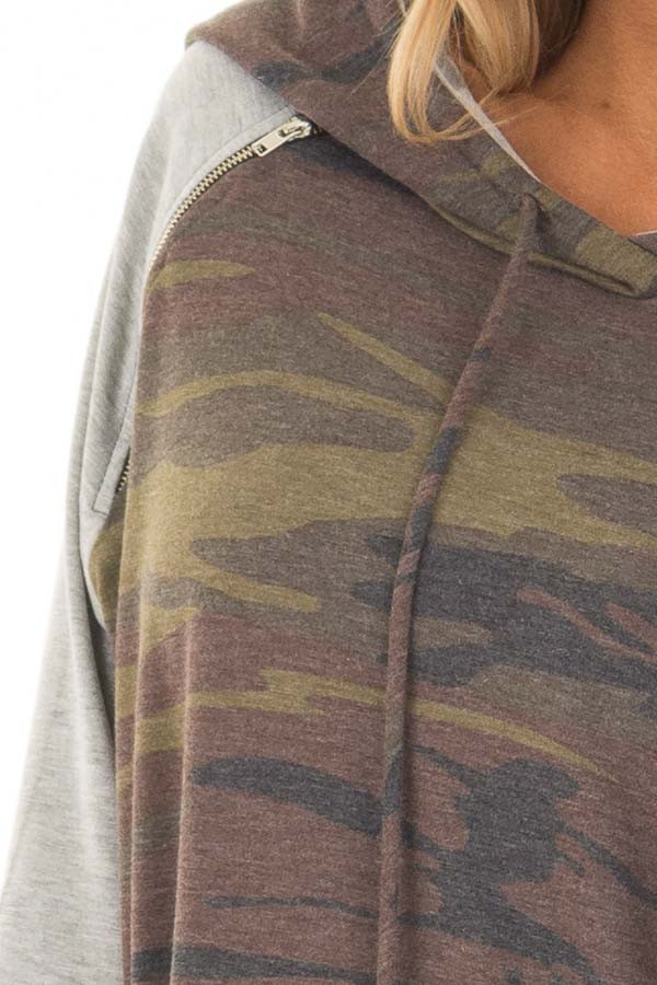 Camo and Heather Grey Hoodie with Zipper Detail front detail