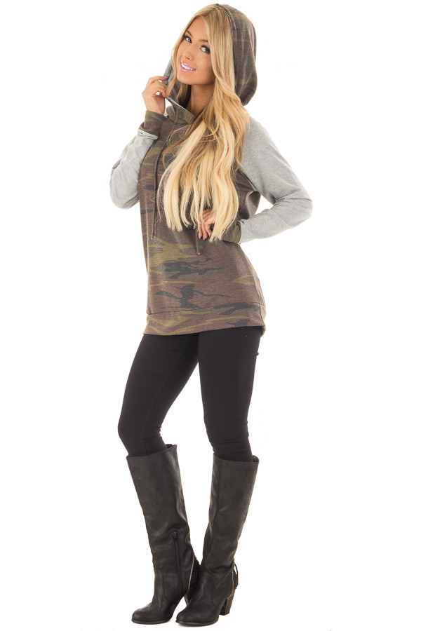 Camo and Heather Grey Hoodie with Zipper Detail front full body