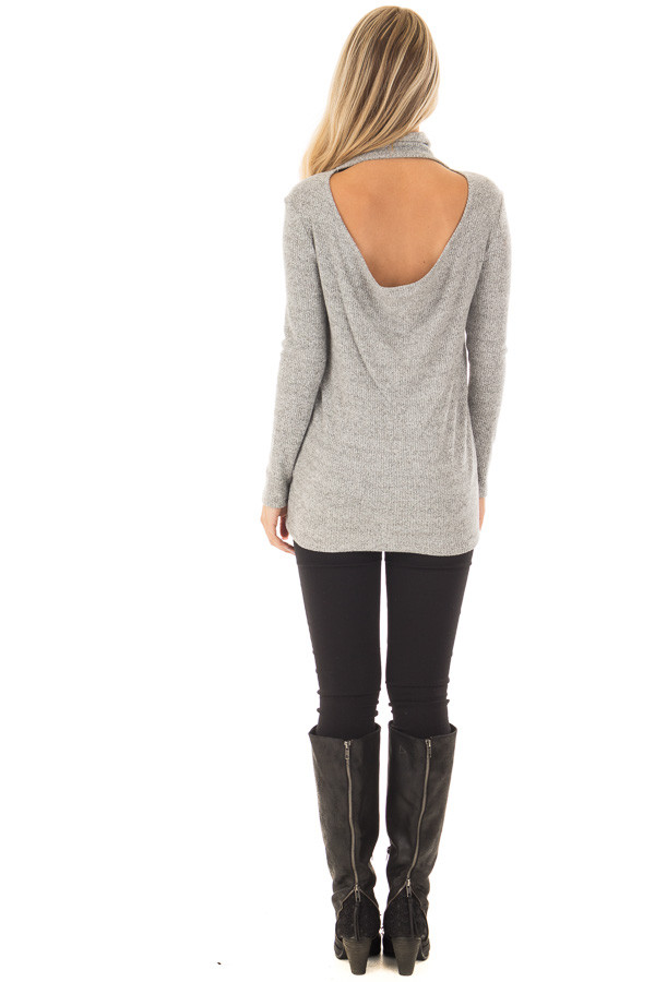 Heather Grey High Neck Long Sleeve Top with Open Back back full body