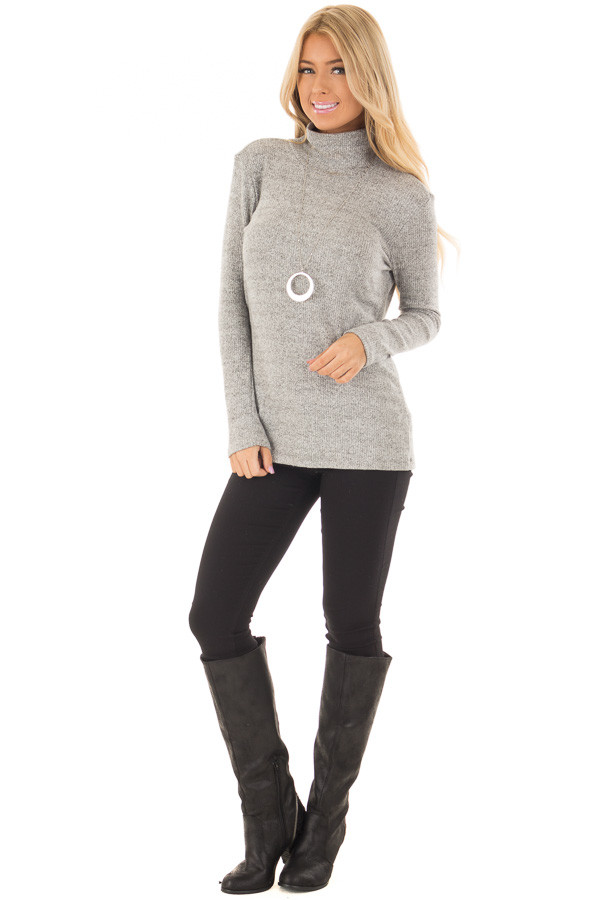 Heather Grey High Neck Long Sleeve Top with Open Back front full body