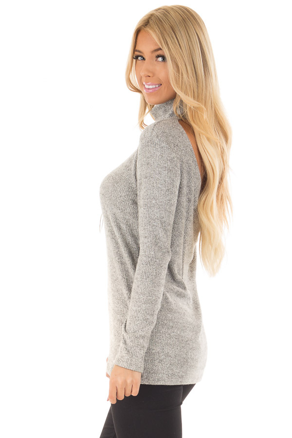 Heather Grey High Neck Long Sleeve Top with Open Back side closeup