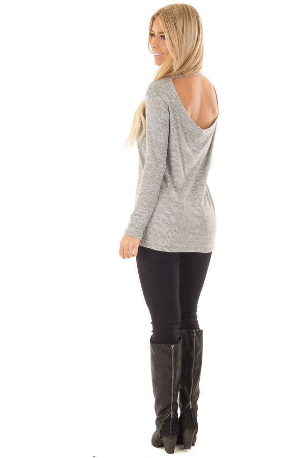 Heather Grey High Neck Long Sleeve Top with Open Back over the shoudler full body