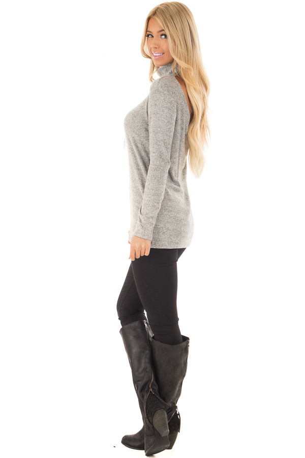 Heather Grey High Neck Long Sleeve Top with Open Back side full body