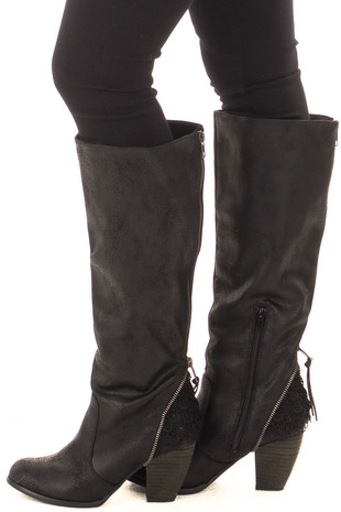Black Faux Leather Tall Boot with Crochet Heel and Zipper Detail left side