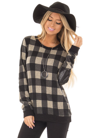 Black Plaid Sweater with Faux Leather Elbow Patches front closeup