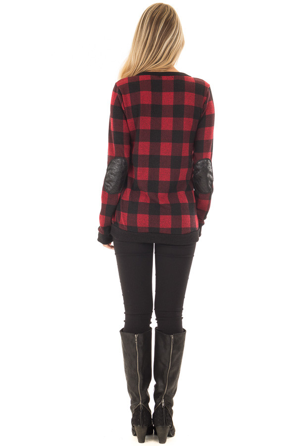 Burgundy Plaid Sweater with Faux Leather Elbow Patches back full body