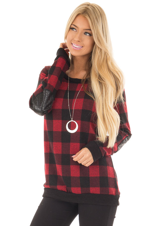 Burgundy Plaid Sweater with Faux Leather Elbow Patches front closeup