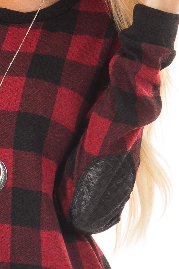 Burgundy Plaid Sweater with Faux Leather Elbow Patches front detail