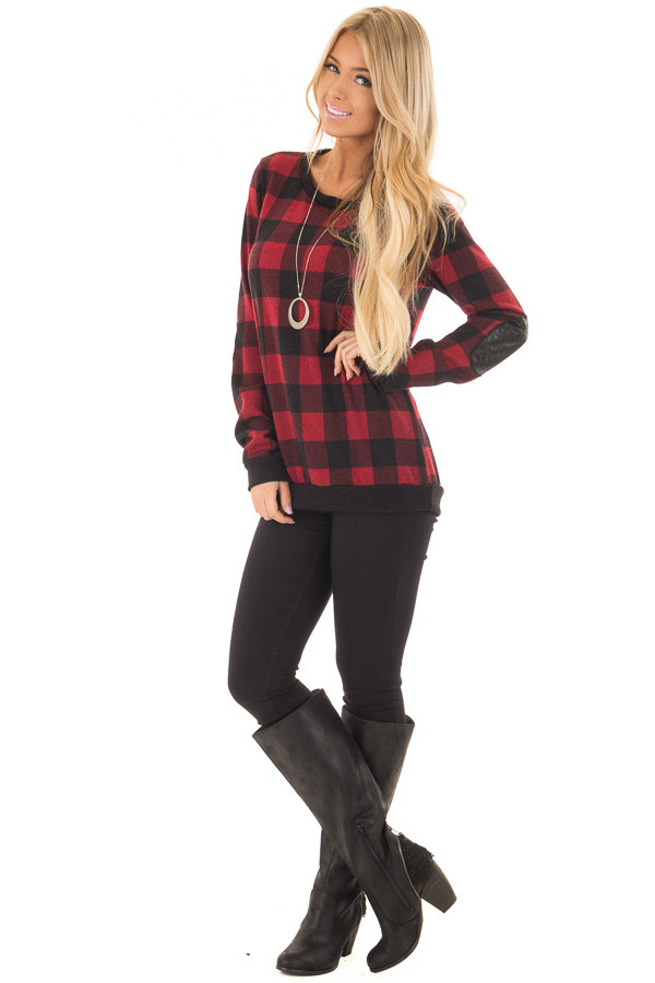 Burgundy Plaid Sweater with Faux Leather Elbow Patches front full body