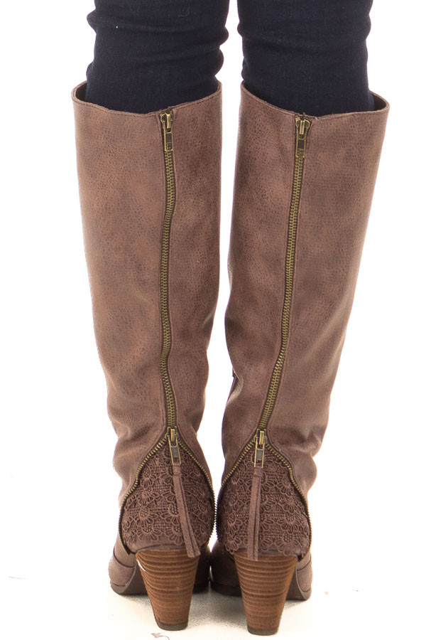 Brown Faux Leather Tall Boot with Crochet Heel and Zipper Detail back