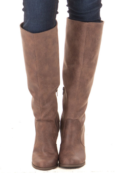 Brown Faux Leather Tall Boot with Crochet Heel and Zipper Detail front