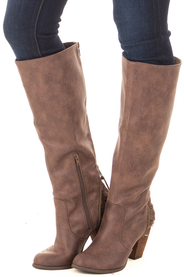 Brown Faux Leather Tall Boot with Crochet Heel and Zipper Detail front side