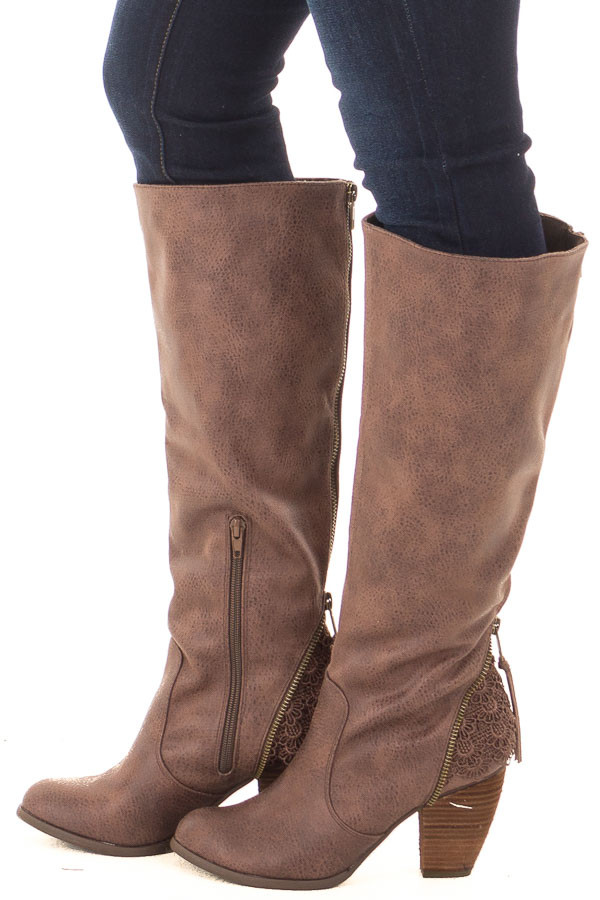 Brown Faux Leather Tall Boot with Crochet Heel and Zipper Detail side