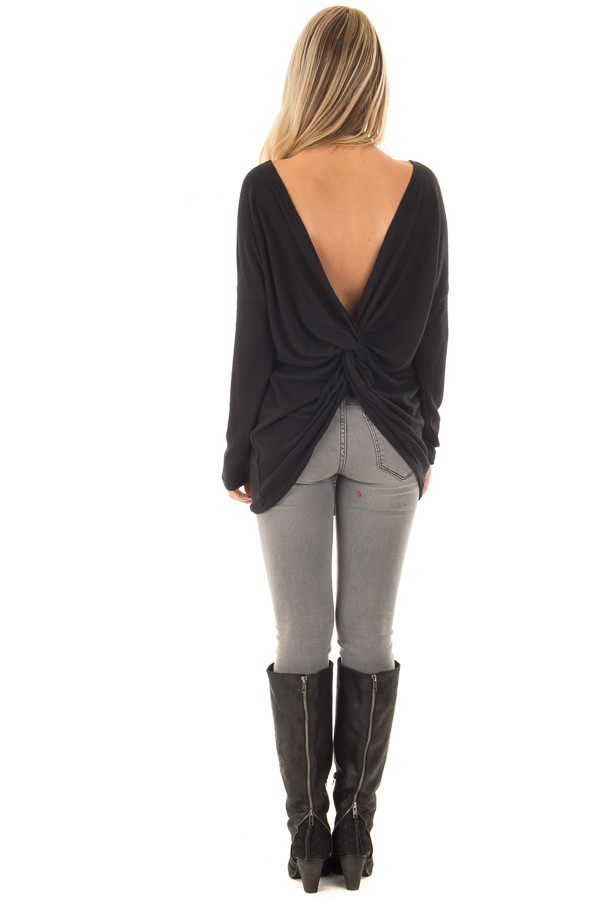 Black Long Sleeve Top with Open Back and Twist back full body