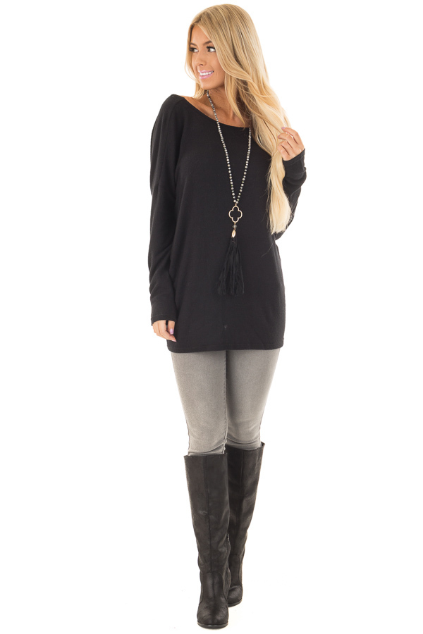 Black Long Sleeve Top with Open Back and Twist front full body