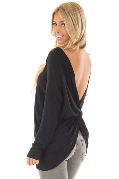 Black Long Sleeve Top with Open Back and Twist over the shoulder closeup