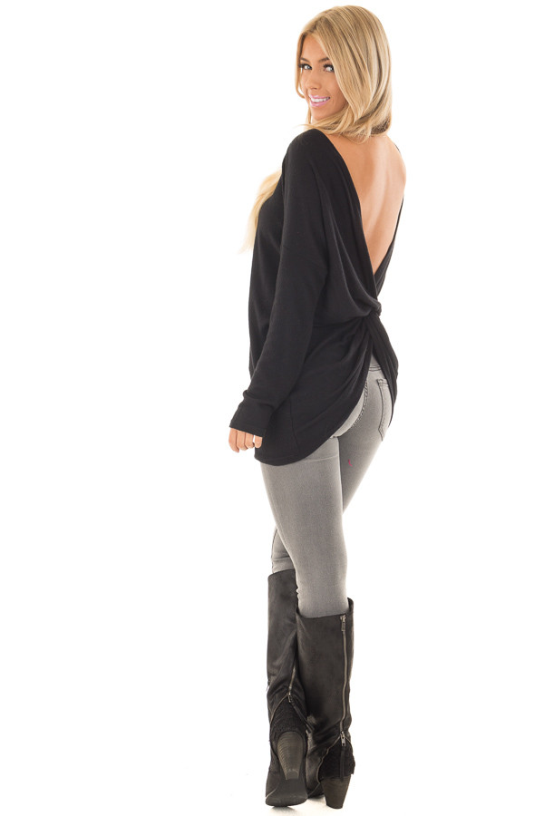 Black Long Sleeve Top with Open Back and Twist over the shoulder full body