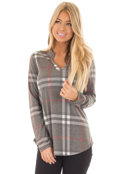 Charcoal Plaid Lightweight Top with Rounded Hemline front closeup