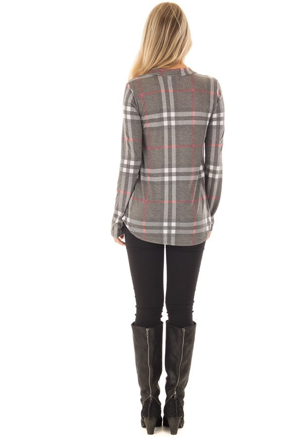 Charcoal Plaid Lightweight Top with Rounded Hemline back full body