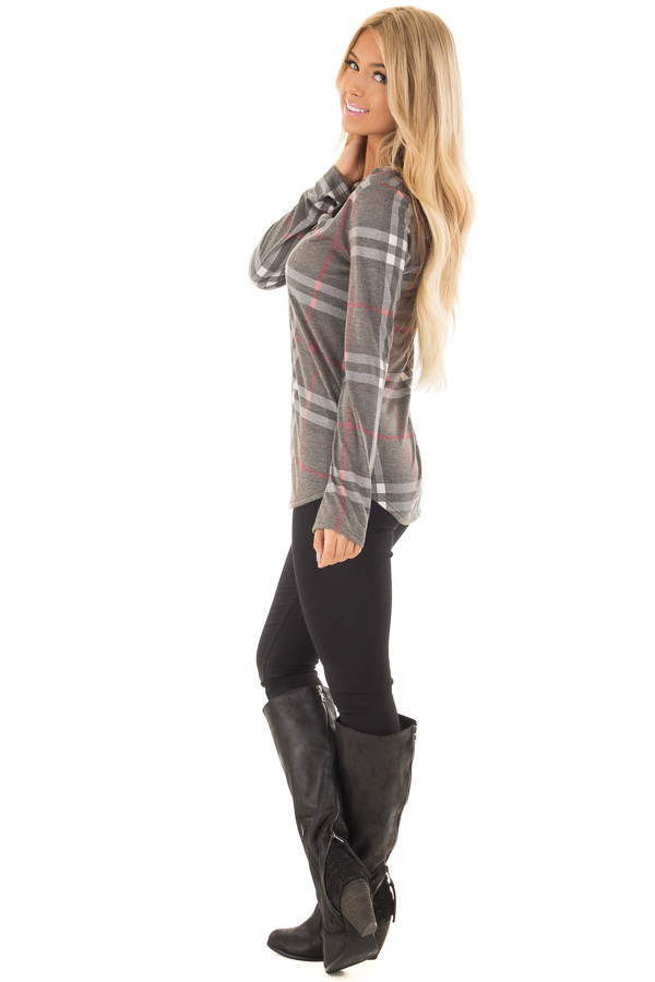 Charcoal Plaid Lightweight Top with Rounded Hemline side full body