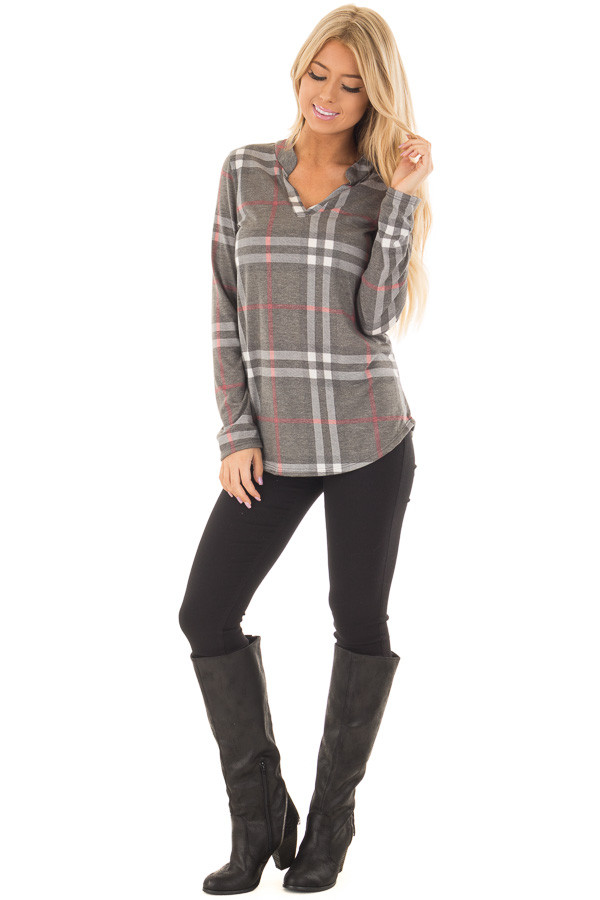 Charcoal Plaid Lightweight Top with Rounded Hemline front full body
