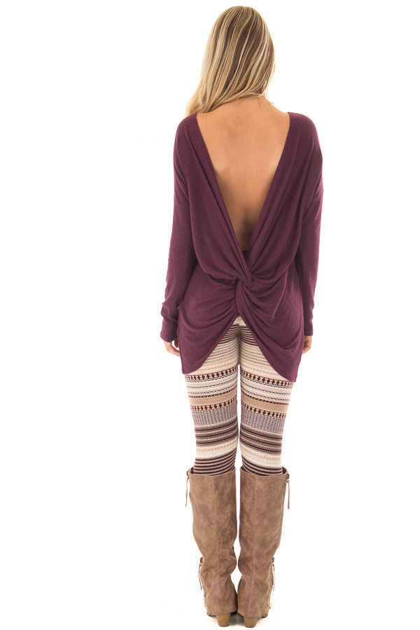 Burgundy Long Sleeve Top with Open Back and Twist back full body