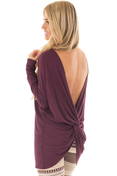 Burgundy Long Sleeve Top with Open Back and Twist over the shoulder closeup