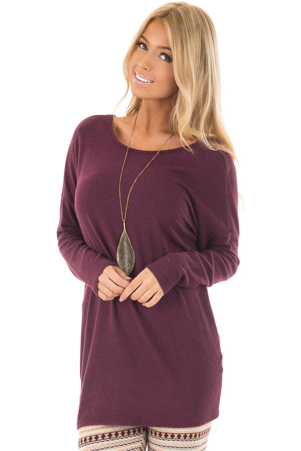 Burgundy Long Sleeve Top with Open Back and Twist front closeup
