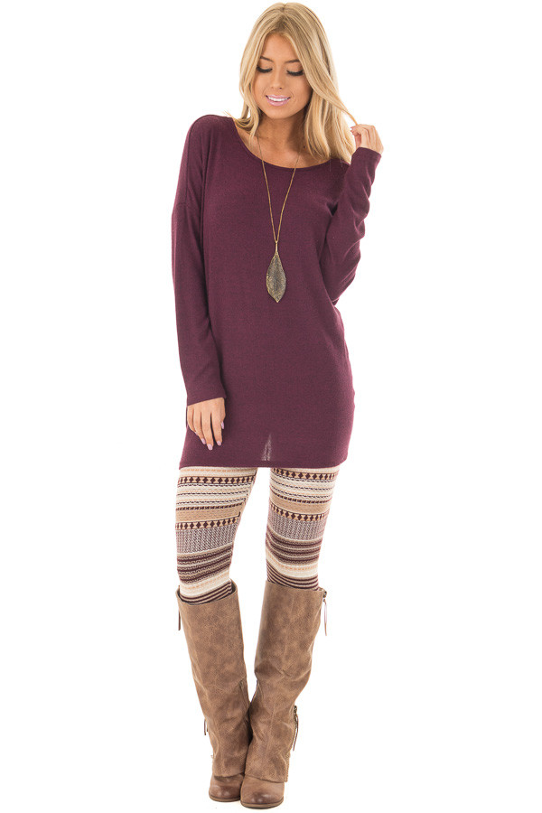 Burgundy Long Sleeve Top with Open Back and Twist front full body