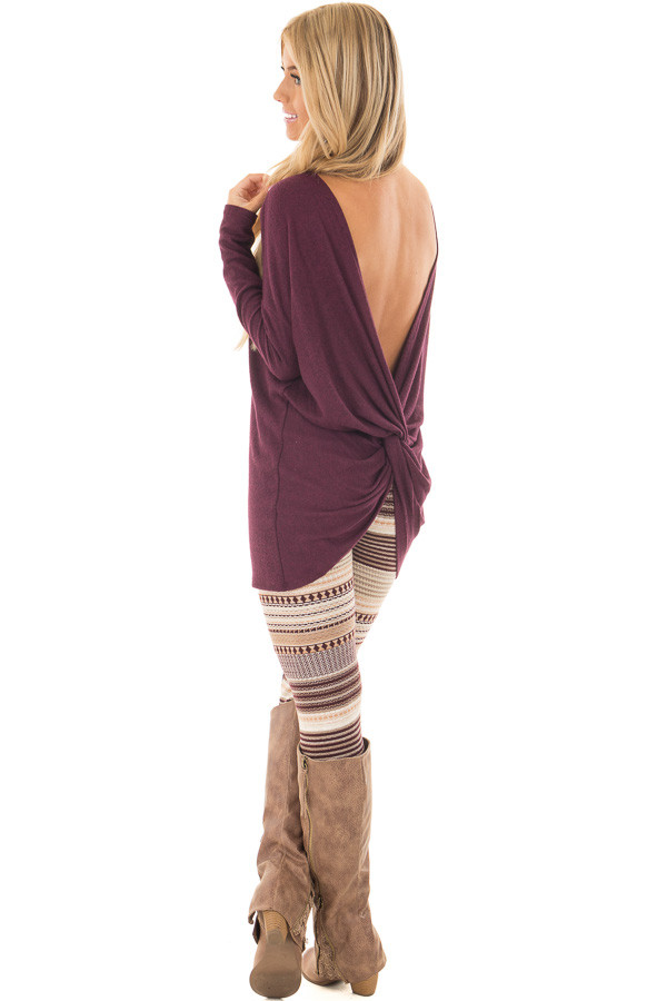 Burgundy Long Sleeve Top with Open Back and Twist over the shoulder full body