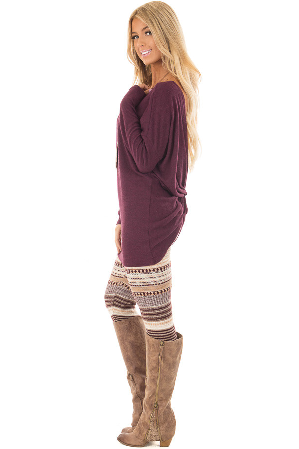 Burgundy Long Sleeve Top with Open Back and Twist side full body