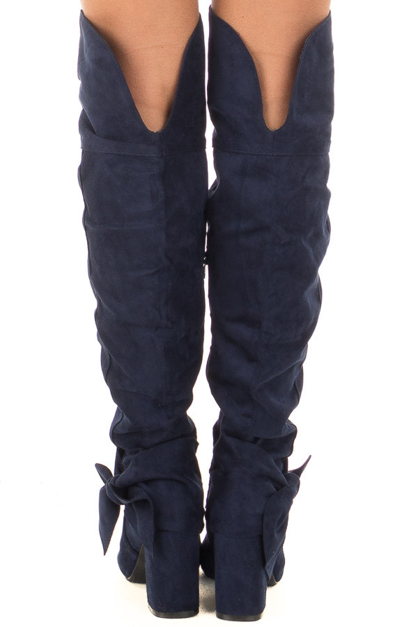 Navy Faux Suede Tall Slouch Boot with Bow Detail back