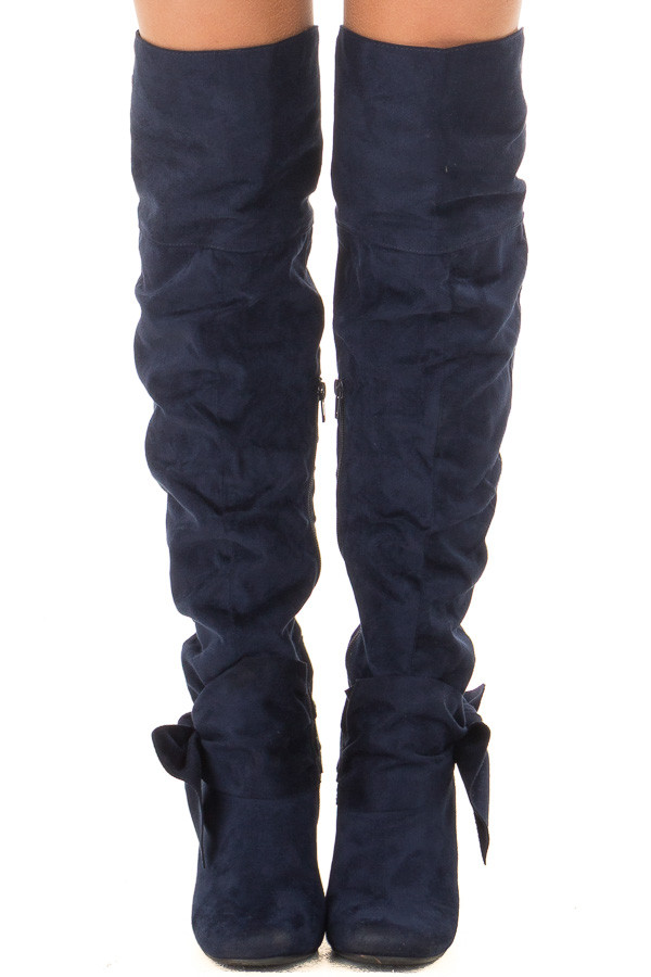 Navy Faux Suede Tall Slouch Boot with Bow Detail front