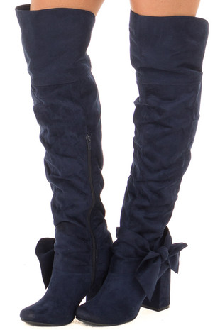 Navy Faux Suede Tall Slouch Boot with Bow Detail front side