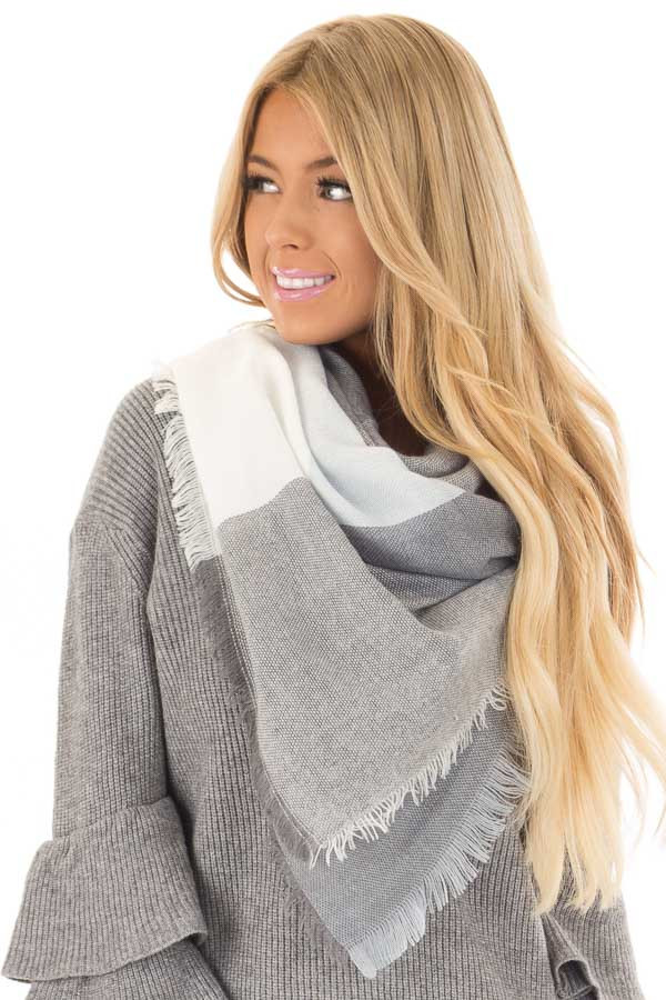 Light Blue and Grey Plaid Blanket Scarf with Fringe Detail close