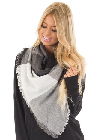 Black and Grey Plaid Blanket Scarf with Fringe Detail front