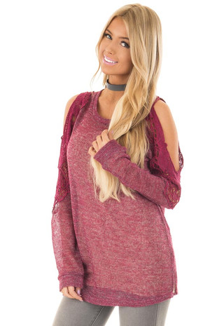 Burgundy Cold Shoulder Top with Sheer Crochet Detail front closeup