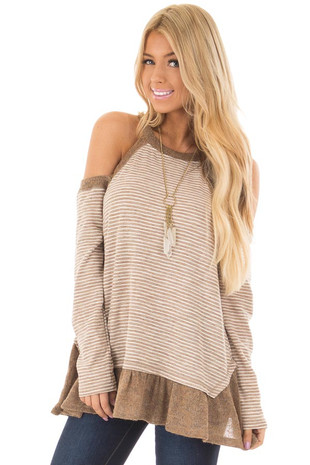 Taupe Striped Cold Shoulder Long Sleeve Top front closeup