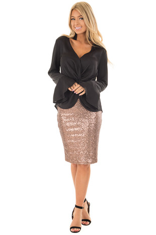 Bronze Sequin Pencil Skirt front full body