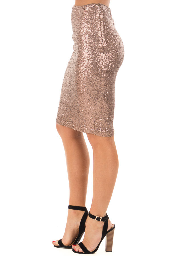 Bronze Sequin Pencil Skirt right side