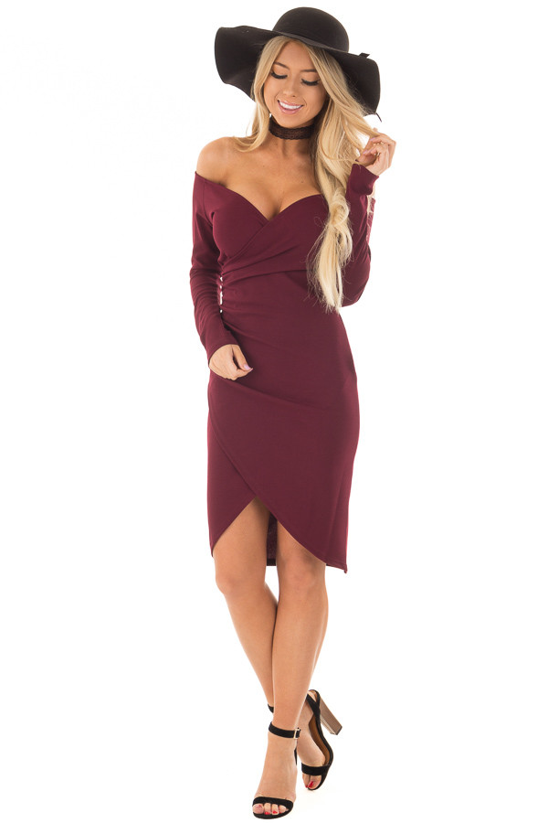 Burgundy Long Sleeve Off the Shoulder Wrap Dress front full body