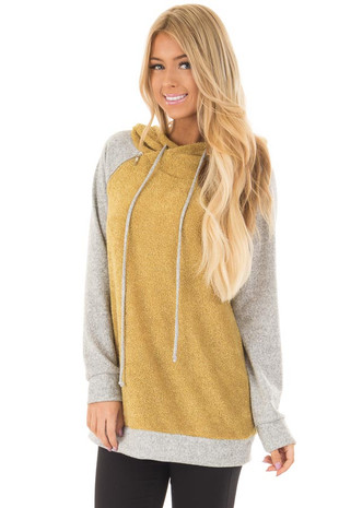 Mustard Textured French Terry Hoodie with Raglan Sleeves front closeup
