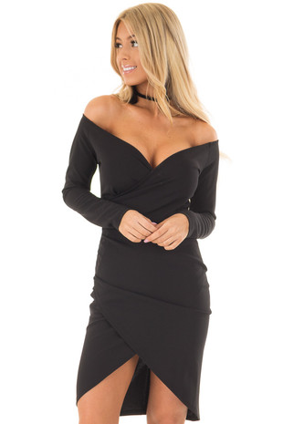Black Long Sleeve Off the Shoulder Wrap Dress front closeup