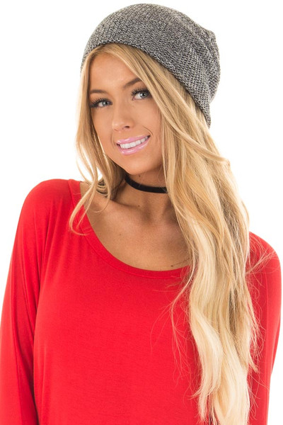 Black and White Two Tone Knit Beanie front
