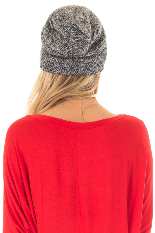 Black and White Two Tone Knit Beanie back