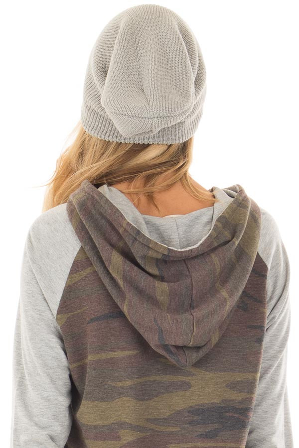 Heather Grey Slouchy Beanie back