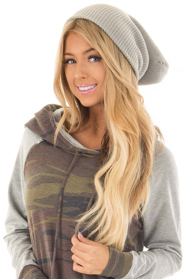 Heather Grey Slouchy Beanie front