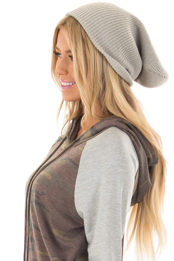 Heather Grey Slouchy Beanie side