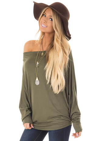 Olive Oversized Off the Shoulder Top front closeup